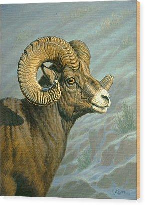 Mount Everts Ram Wood Print by Paul Krapf
