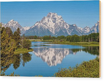 Mount Moran On Snake River Landscape Wood Print by Brian Harig