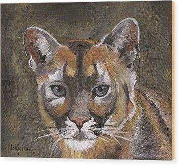 Mountain Cat Wood Print by Jamie Frier
