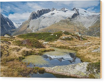 Mountain Landscape Water Reflection Swiss Alps Wood Print by Matthias Hauser