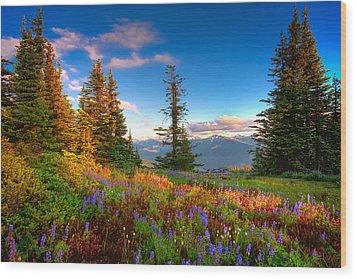 Mountain Rainier  Sunset Wood Print by Emmanuel Panagiotakis