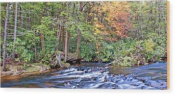 Wood Print featuring the photograph Mountain Stream In Autumn Pocono Mountains Pennsylvania by A Gurmankin