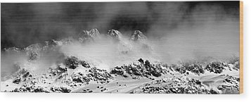 Mountains Of Morteratsch Wood Print by Marc Huebner