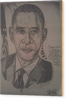 Mr. President Wood Print by Demetrius Washington