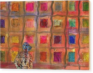 Ms Cool Goes Window Watching In Color Wood Print by Angela L Walker