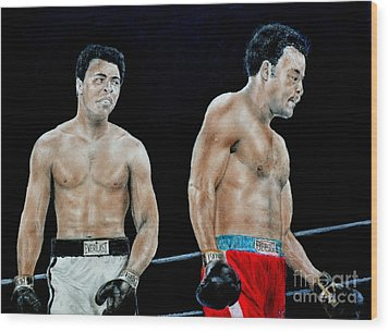 Muhammad Ali Vs George Foreman Wood Print by Jim Fitzpatrick