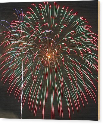 4th Of July Fireworks 16 Wood Print by Howard Tenke