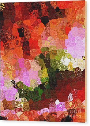 Multi Color Abstract Art Of Spots Wood Print by Mario Perez