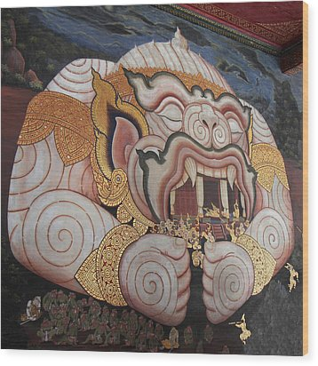 Mural - Grand Palace In Bangkok Thailand - 011311 Wood Print by DC Photographer