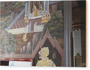 Mural - Grand Palace In Bangkok Thailand - 01133 Wood Print by DC Photographer
