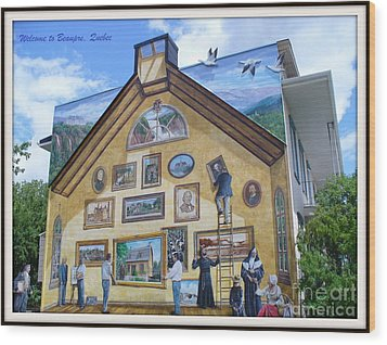 Mural In Beaupre Quebec Wood Print by Lingfai Leung