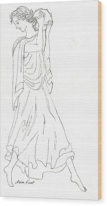Terpsichore Muse Of Dance Wood Print by Maria Hunt