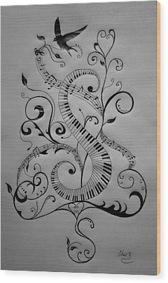 Music Equals Life Wood Print by Christopher Kyle