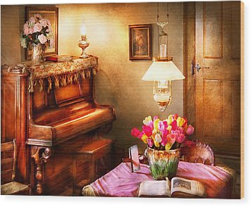 Music - Piano - The Music Room Wood Print by Mike Savad