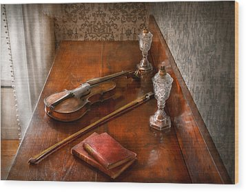 Music - Violin - A Sound Investment  Wood Print by Mike Savad