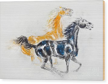 Mustangs Wood Print by Kurt Tessmann
