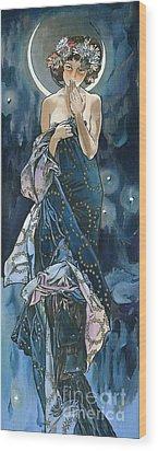 My Acrylic Painting As An Interpretation Of The Famous Artwork Of Alphonse Mucha - Moon - Wood Print by Elena Yakubovich
