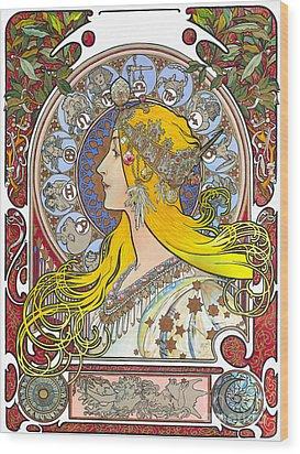 My Acrylic Painting As An Interpretation Of The Famous Artwork Of Alphonse Mucha - Zodiac - Wood Print by Elena Yakubovich