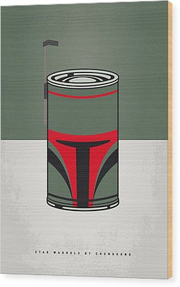 My Star Warhols Boba Fett Minimal Can Poster Wood Print by Chungkong Art