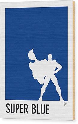 My Superhero 03 Super Blue Minimal Poster Wood Print by Chungkong Art
