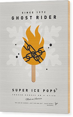 My Superhero Ice Pop - Ghost Rider Wood Print by Chungkong Art