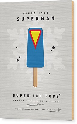 My Superhero Ice Pop - Superman Wood Print by Chungkong Art