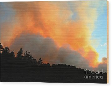 Wood Print featuring the photograph Myrtle Fire Near Rifle Pit Road by Bill Gabbert