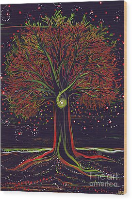 Mystic Spiral Tree Red By Jrr Wood Print by First Star Art