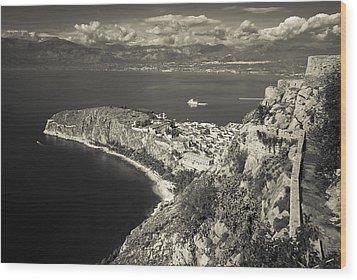 Nafplio Peninsula Sepia Wood Print by David Waldo
