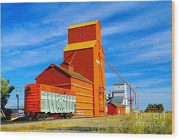 Nanton Grain Elevators  Wood Print by Jeff Swan
