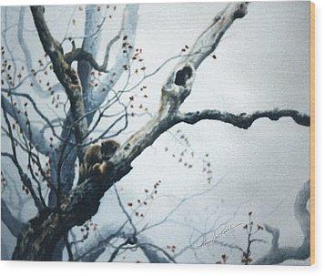 Nap In The Mist Wood Print by Hanne Lore Koehler