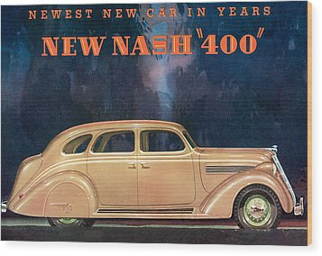 Nash 400 - Vintage Car Poster Wood Print by World Art Prints And Designs