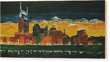 Nashville Night Wood Print by Vickie Warner