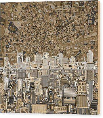 Nashville Skyline Abstract 2 Wood Print by Bekim Art