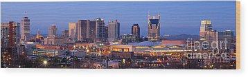 Nashville Skyline At Dusk Panorama Color Wood Print by Jon Holiday