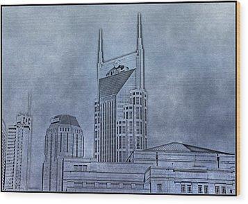Nashville Skyline Sketch Wood Print by Dan Sproul