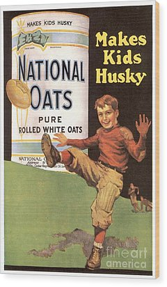 National Oats 1920s Usa Cereals Wood Print by The Advertising Archives
