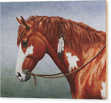 Native American Pinto Horse Wood Print by Crista Forest