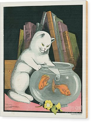 Naughty Cat Fishes For Goldfish In Fish Bowl Wood Print by Pierpont Bay Archives