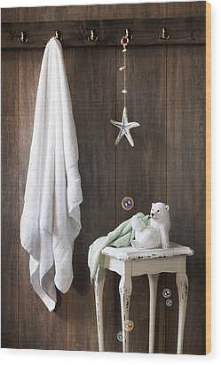 Nautical Bathroom Wood Print by Amanda Elwell