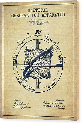 Nautical Observation Apparatus Patent From 1895 - Vintage Wood Print by Aged Pixel