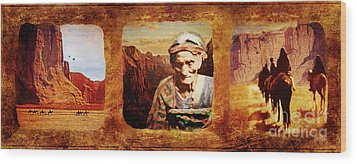Navajo Triptych  Wood Print by Lianne Schneider
