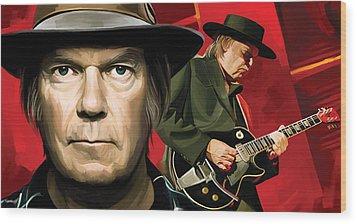 Neil Young Artwork Wood Print by Sheraz A