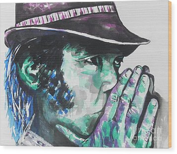 Neil Young Wood Print by Chrisann Ellis