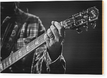Close Up Of Neil Young's Hand Playing Guitar  Wood Print by Jennifer Rondinelli Reilly - Fine Art Photography