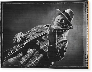 Neil Young On Guitar In Black And White With Grungy Frame  Wood Print by Jennifer Rondinelli Reilly - Fine Art Photography