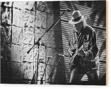 Neil Young Live In Concert Wood Print by The  Vault - Jennifer Rondinelli Reilly