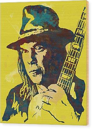 Neil Young Pop Artsketch Portrait Poster Wood Print by Kim Wang
