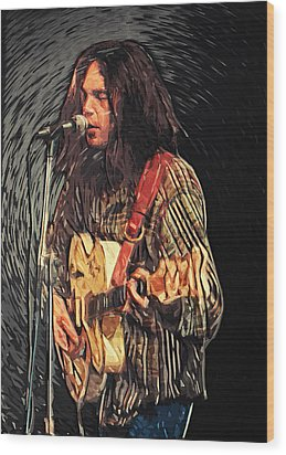 Neil Young Wood Print by Taylan Soyturk