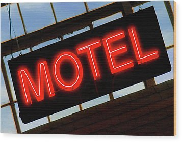 Neon Motel Sign Wood Print by Mike McGlothlen
